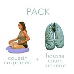 PACK CORPOMED + HOUSSE COTON VERT AMANDE